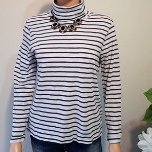 Madewell Whisper Cotton Stripe Turtleneck sz  M
